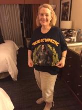 Gretchen wearing her new Weird Al concert t-shirt